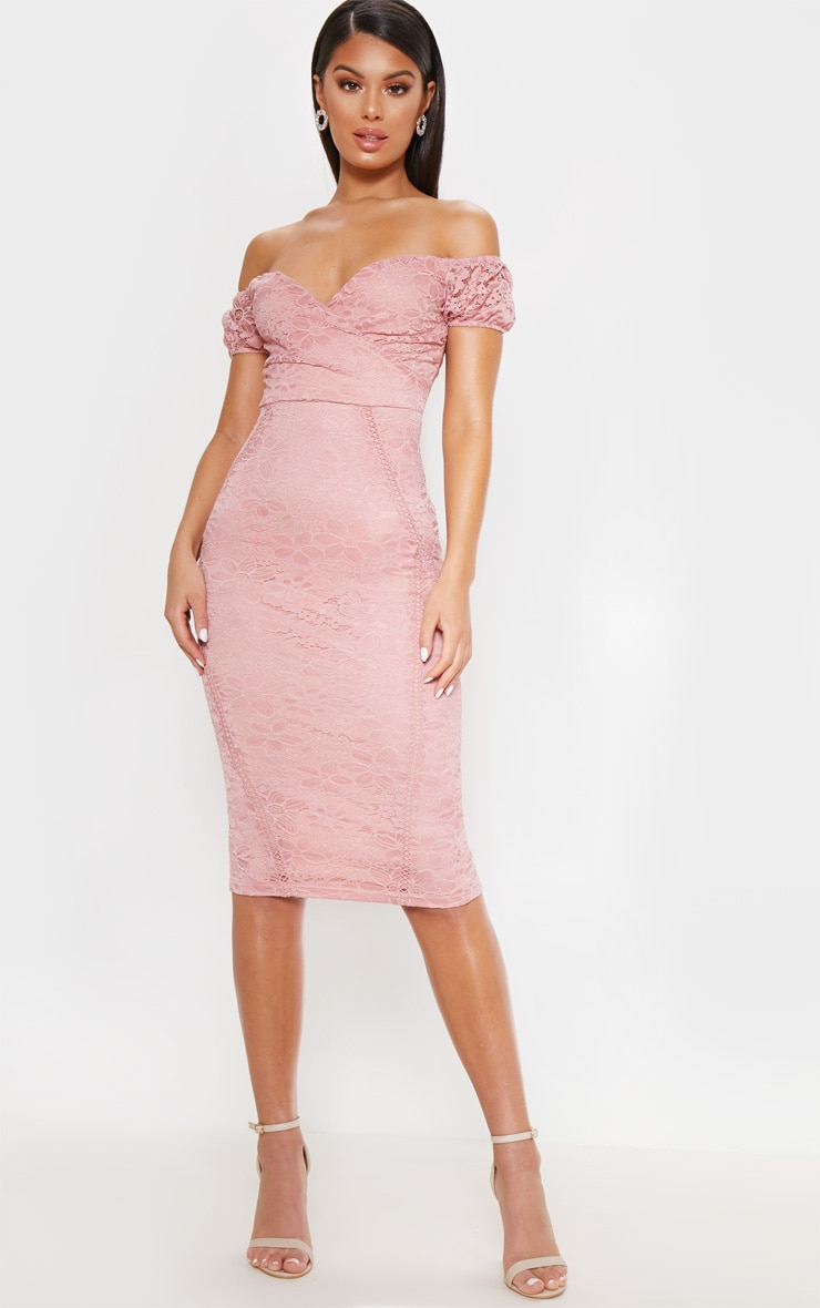 Rose Lace Bardot Wrap Midi Dress 1