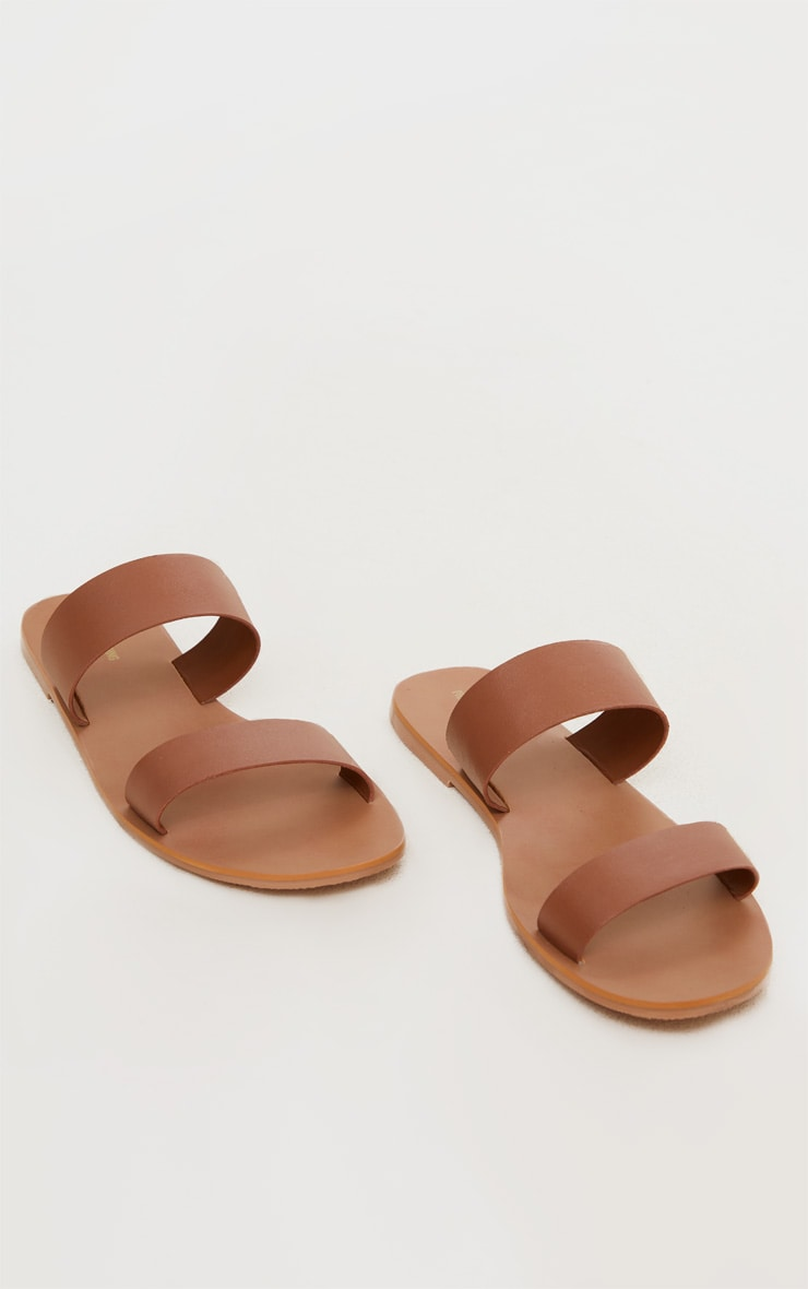 Tan Wide Fit Leather Twin Strap Sandal 3