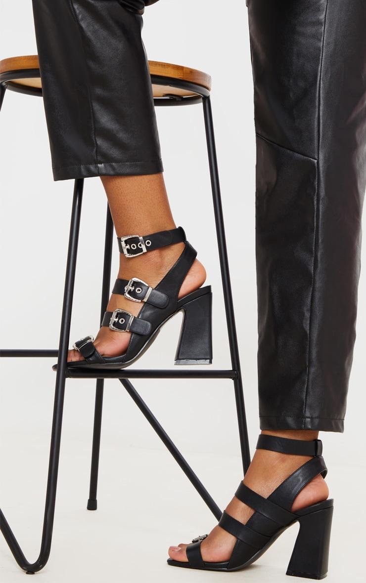 Black Block Heel Multi Buckle Sandals