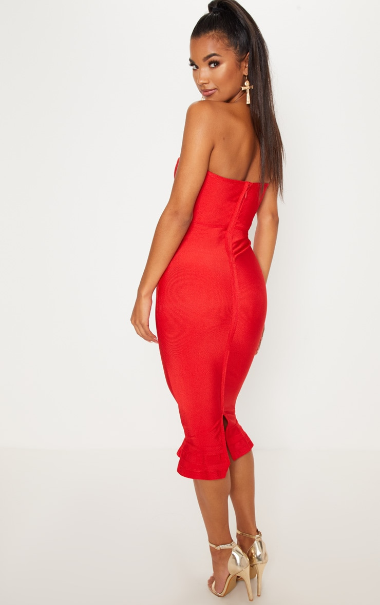 Red Frill Hem Bandage Midi Dress 2
