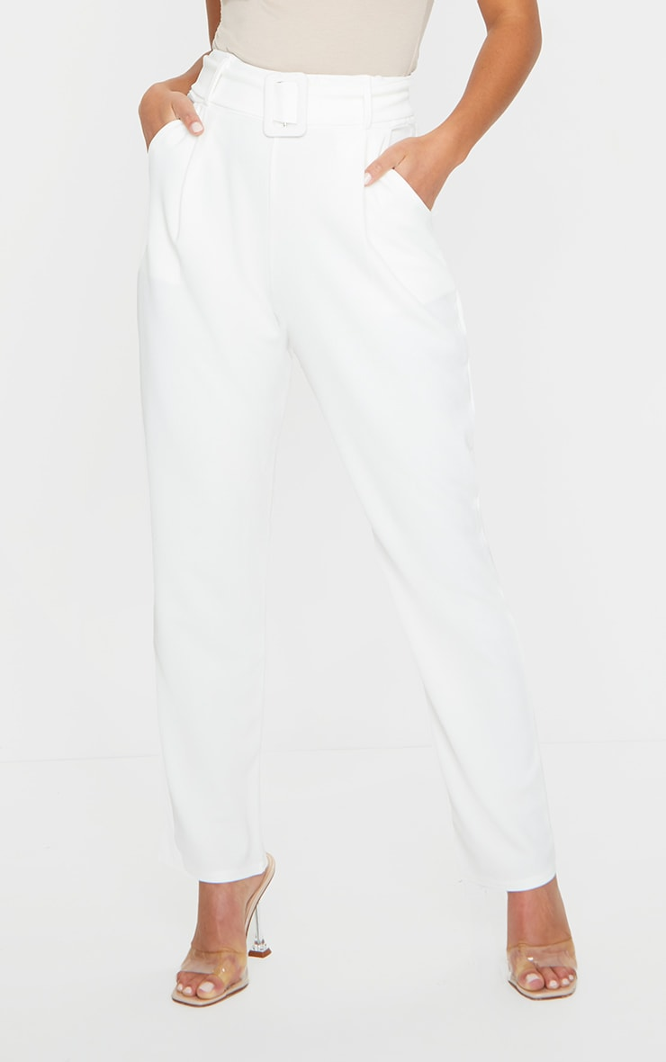 Petite White Buckle Detail Trouser 2