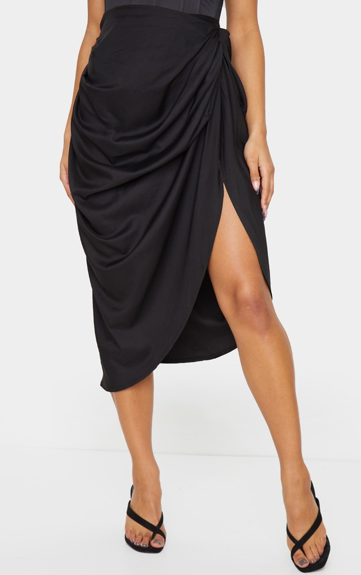 Black Ruched Side Midi Skirt 2