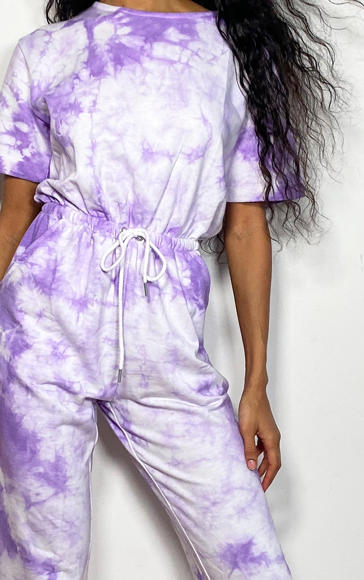 Violet Tie Dye Short Sleeve Sweat Jumpsuit 4