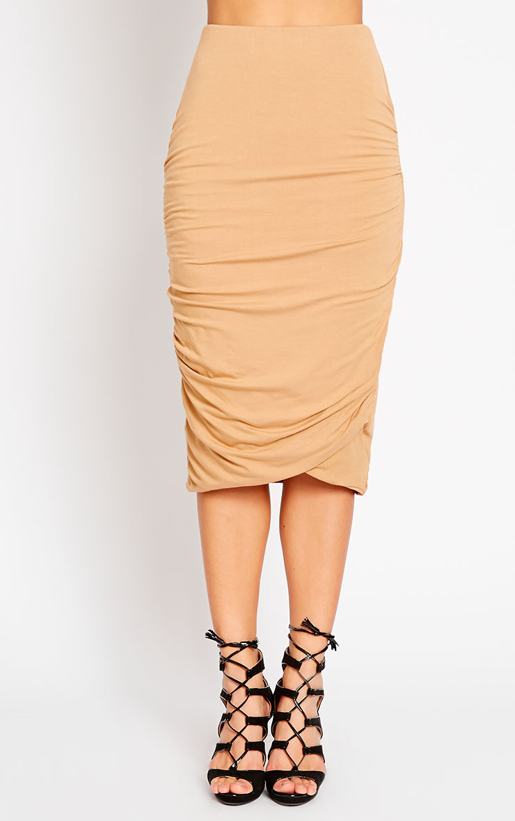 Asia Camel Jersey Ruched Midi Skirt 2