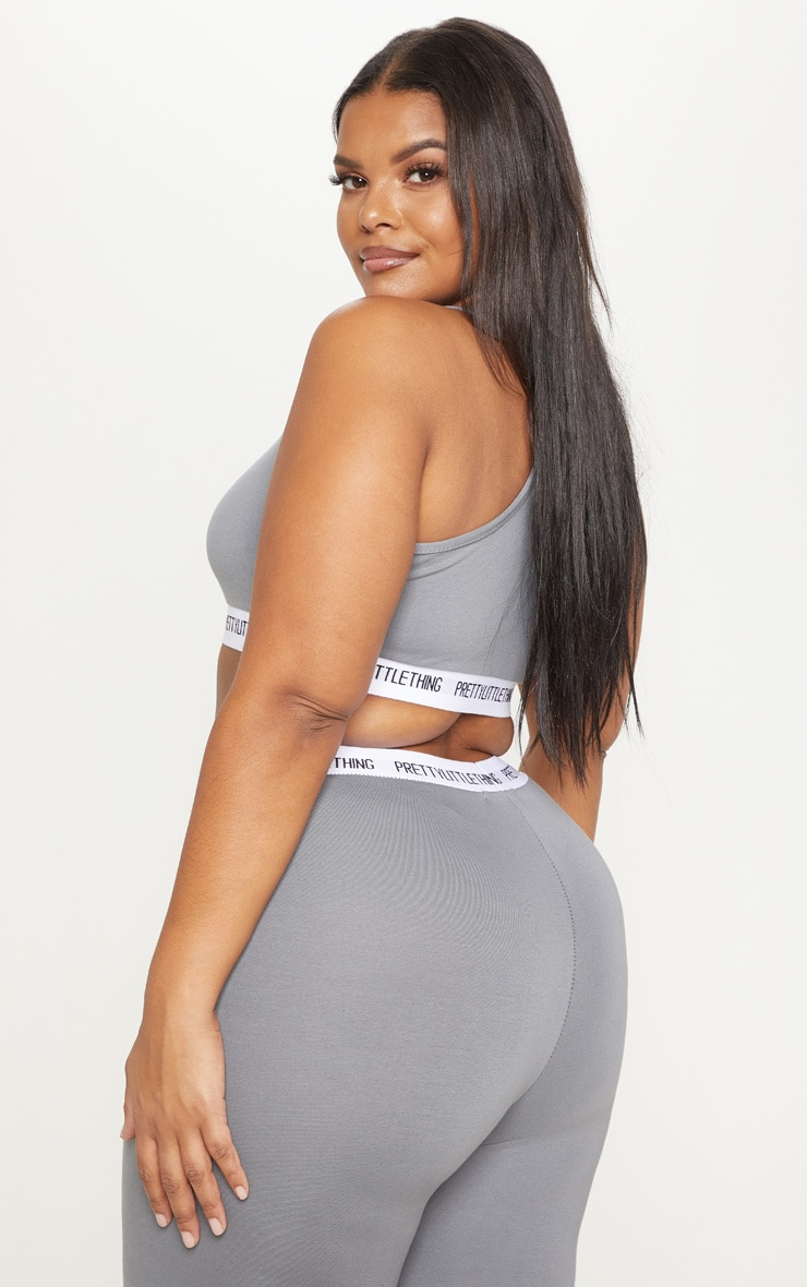PRETTYLITTLETHING Plus Charcoal Grey Sports Bra  2