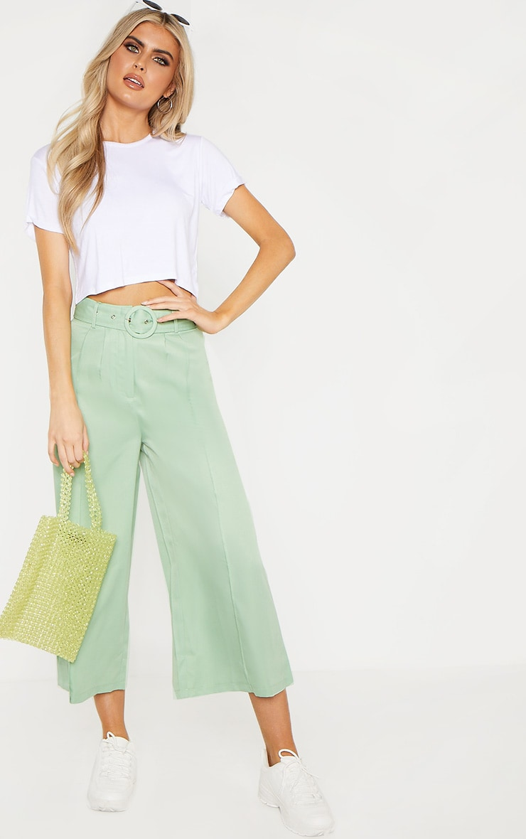 Tall Mint Circle Belt Wide Leg Culottes 1