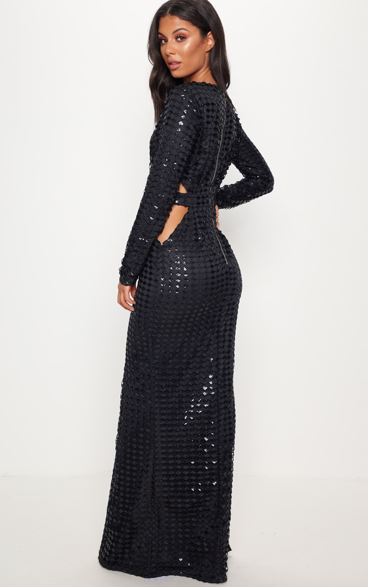 Black Metallic Detailed Cut Out Plunge Maxi Dress 2