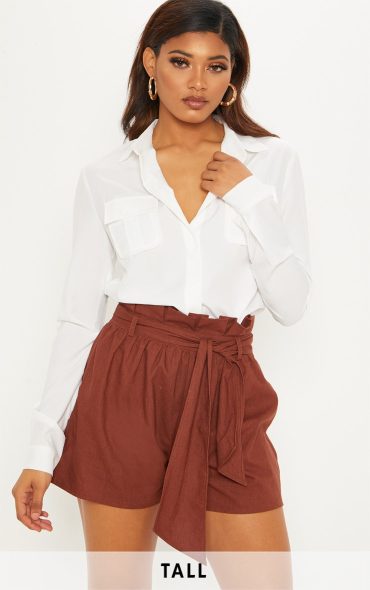 Tall Chocolate Brown Paperbag Tie Waist Shorts 1