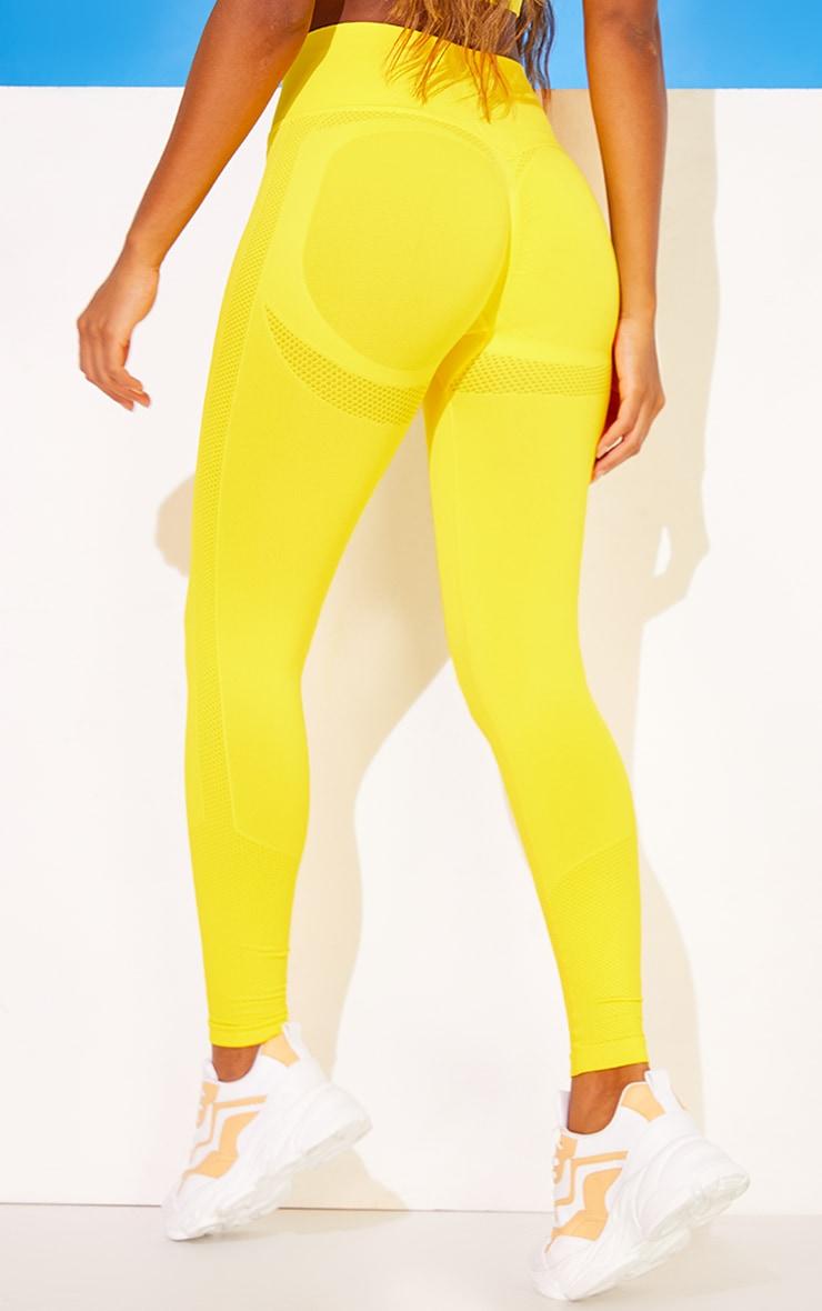 Yellow Seamless Booty Detail Gym Leggings 3