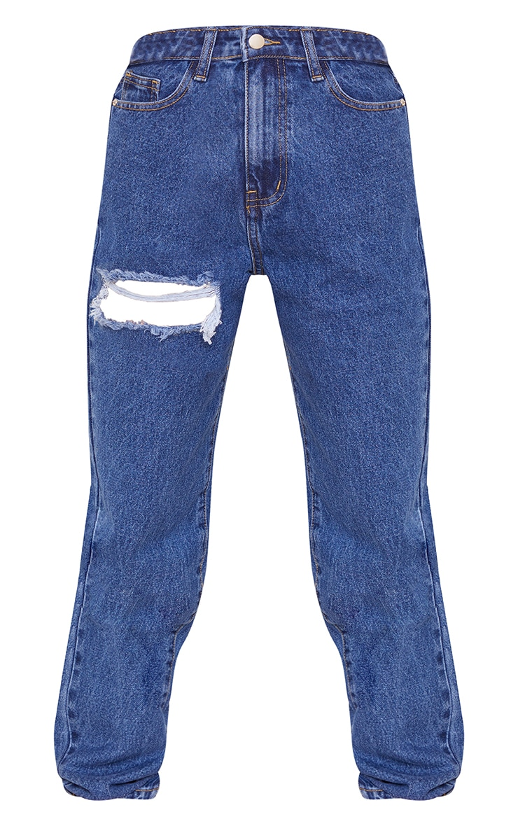 PRETTYLITTLETHING Petite Mid Wash Thigh Distressed Mom Jean 5