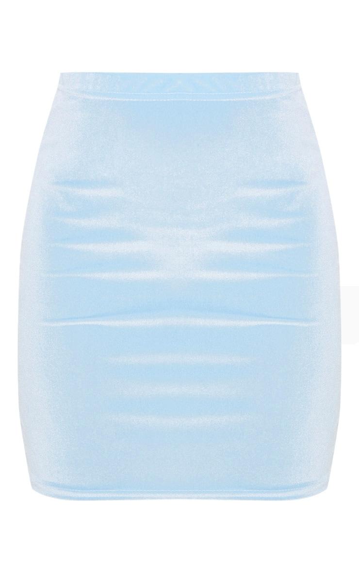 Light Blue Velvet Mini Skirt Skirts Prettylittlething Aus