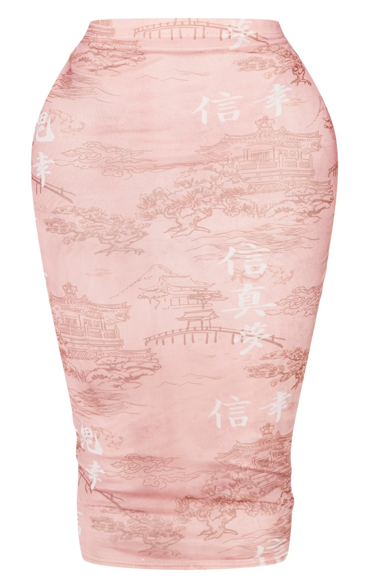 Shape Rose Oriental Printed Mesh Midi Skirt 3