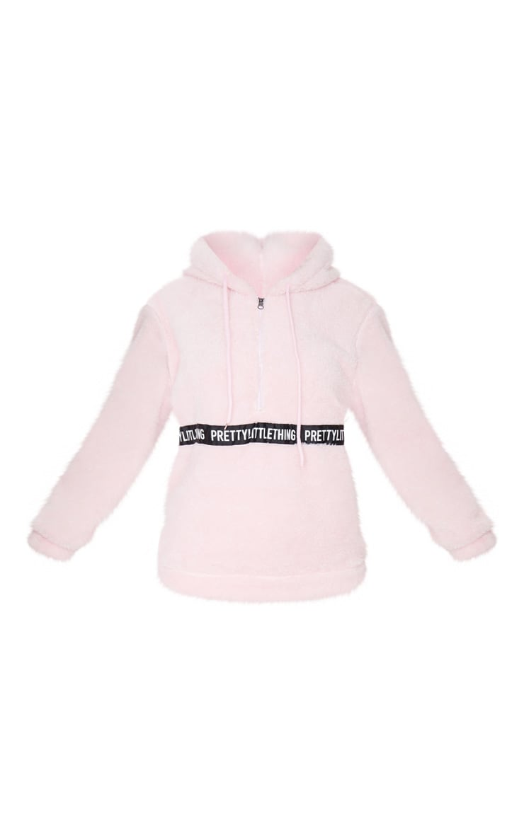 PRETTYLITTLETHING Baby Pink Borg Tape Oversized Zip Sweater 5