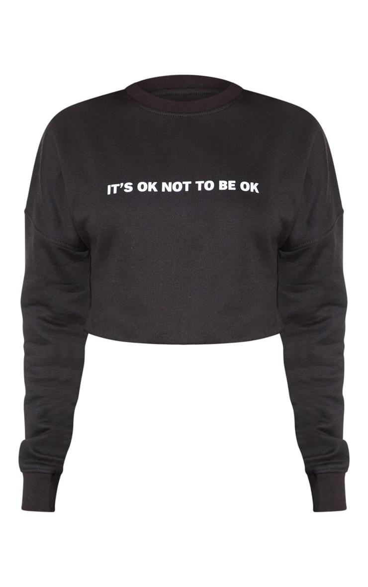 Black Its Ok Slogan Crop Sweater 3