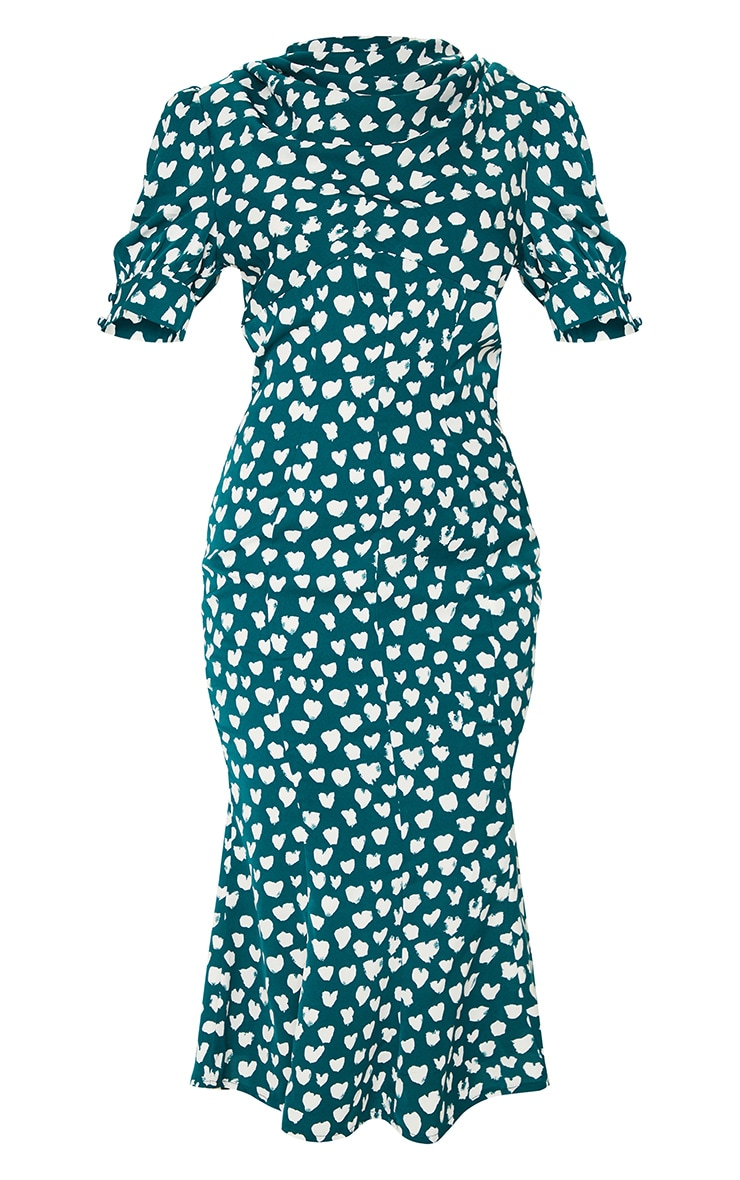 Emerald Green Dalmatian Print Puff Sleeve Cowl Neck Midi Dress 5