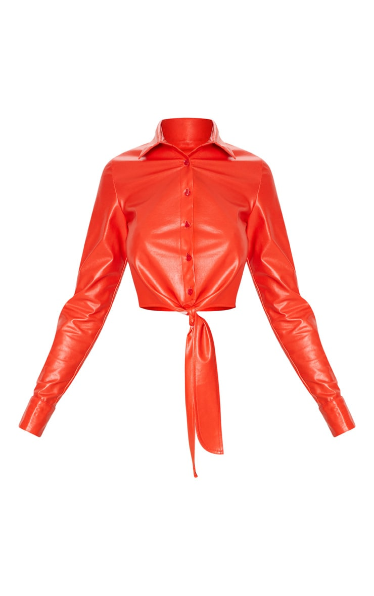 Red Faux Leather Tie Front Shirt  3