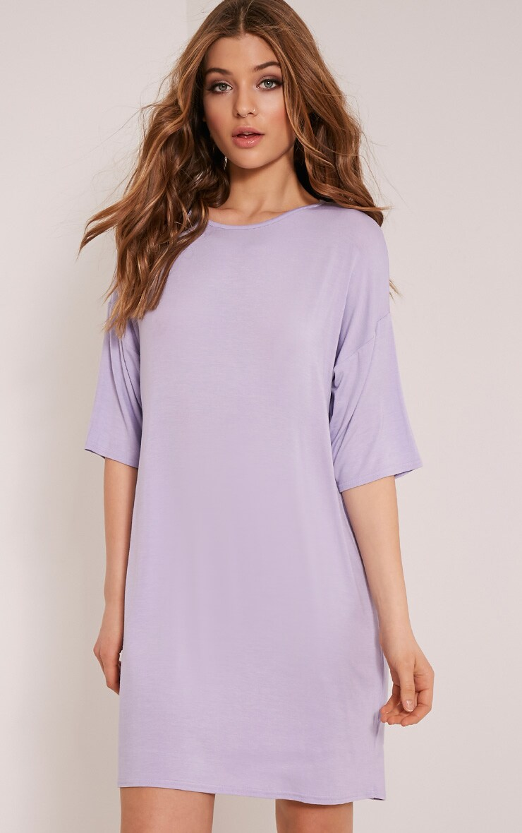 Basic Lilac Drop Shoulder T Shirt Dress 1