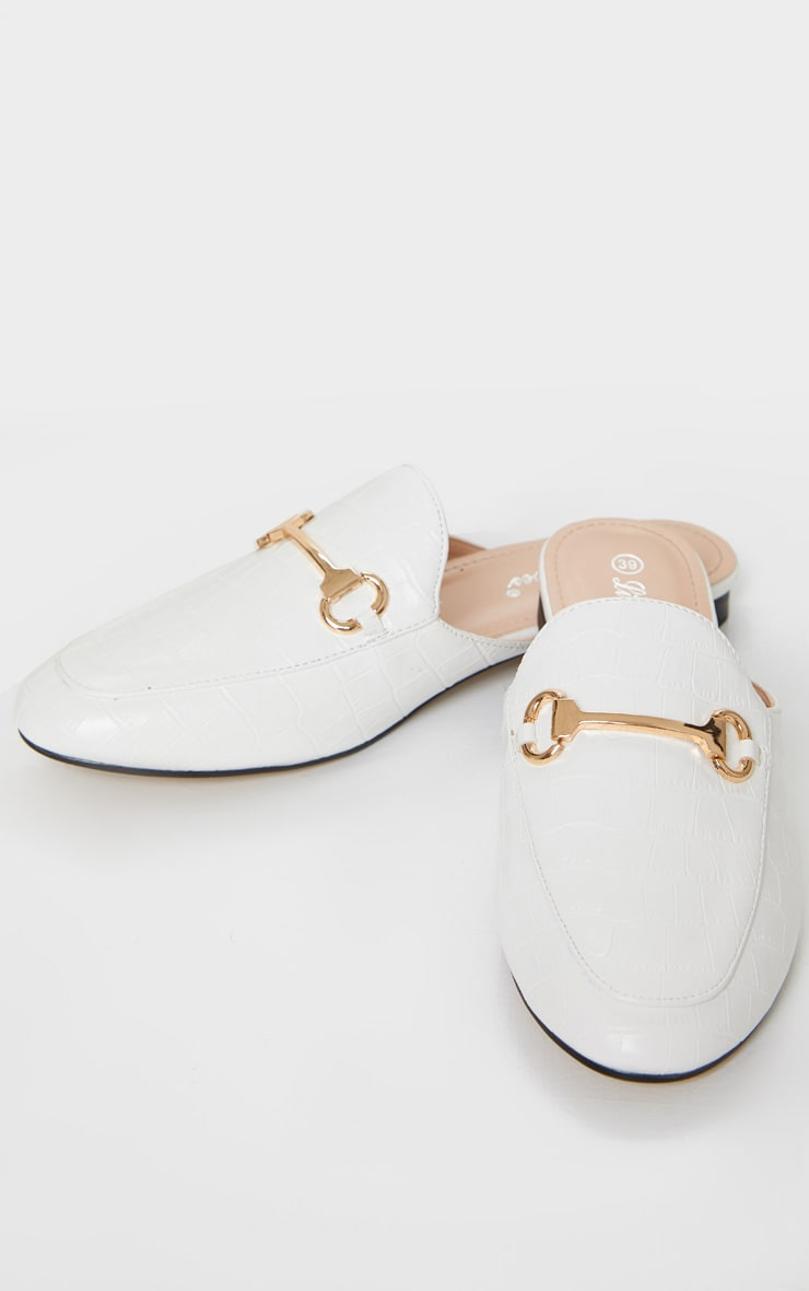 White Croc PU Ring Trim Mules 1