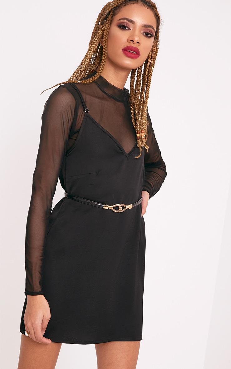 Ashley Black Snake Skinny Waist Belt 2