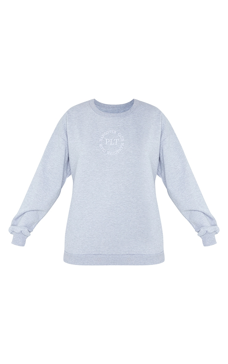 PRETTYLITTLETHING Grey Hangover Club Embroidered Sweat 5