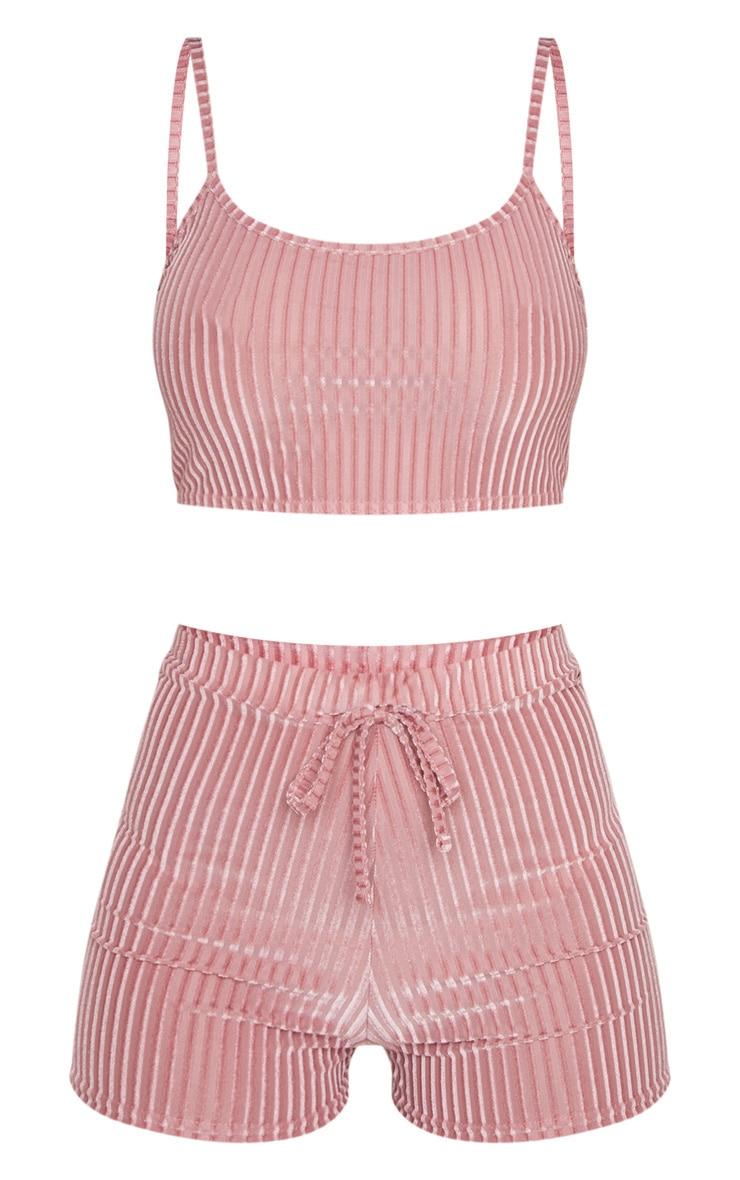 Pink Velvet Ribbed Short PJ Set 6