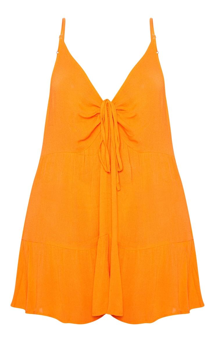 Plus Orange Cheesecloth Strappy Swing Dress 3