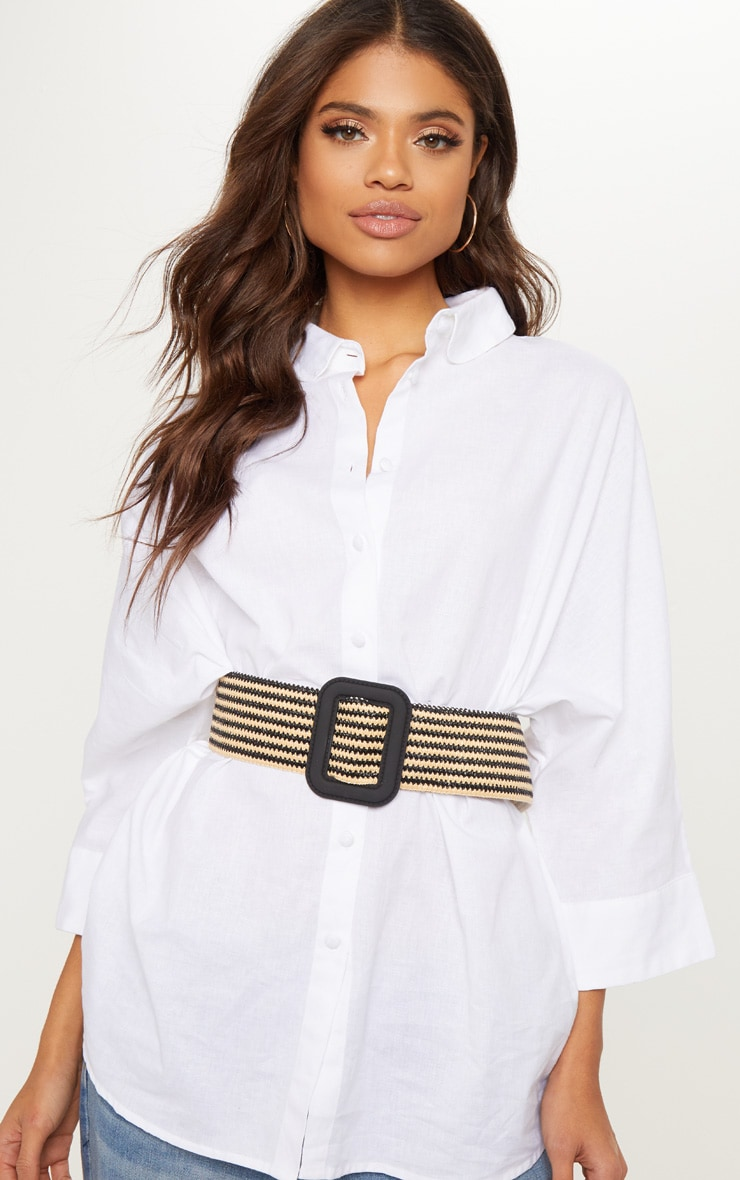Black Striped Raffia Wide Buckle Waist Belt