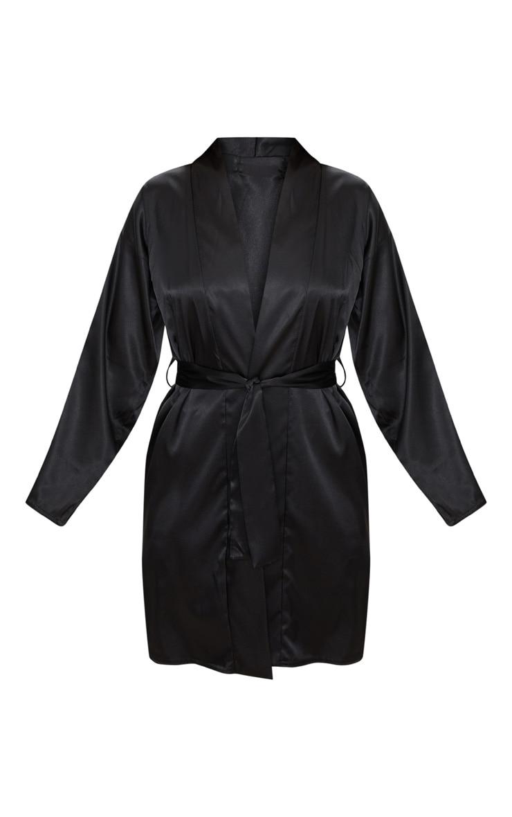 Robe de chambre satinée noire 3