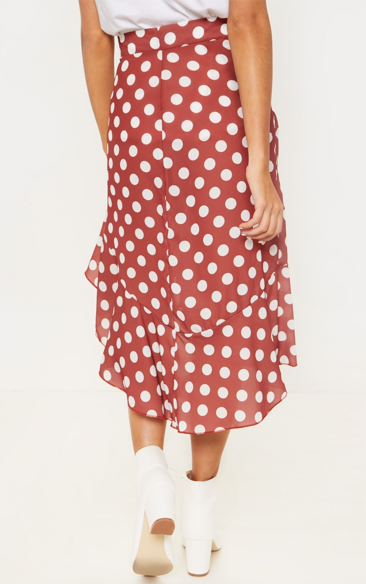 Spice Waterfall Frill Detail Polka Dot Skirt 3