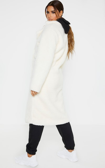 Tall Cream Borg Midi Coat