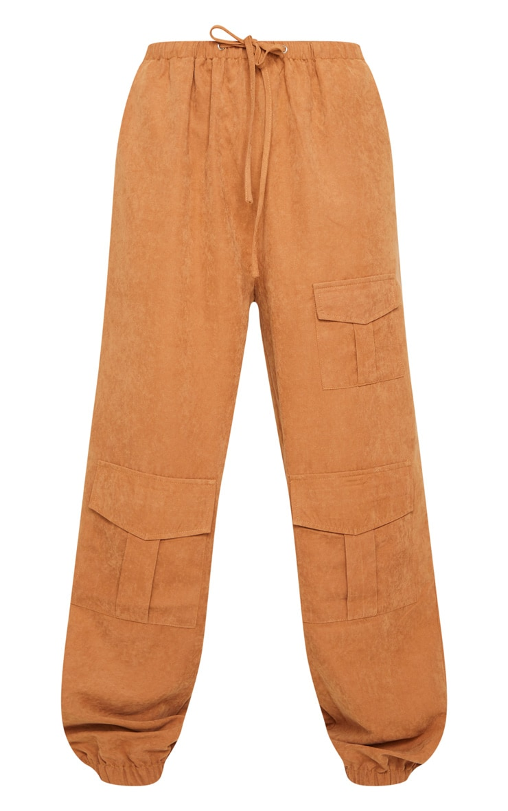 Rust Faux Suede Drawstring Waist Cargo Trousers 5