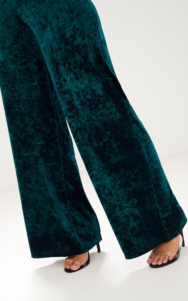 Emerald Green Crushed Velvet Suit Trouser 5