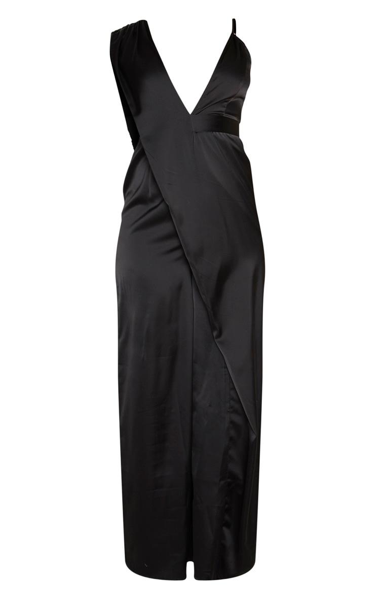Black Asymmetric Drape Detail Wide Leg Jumpsuit 3