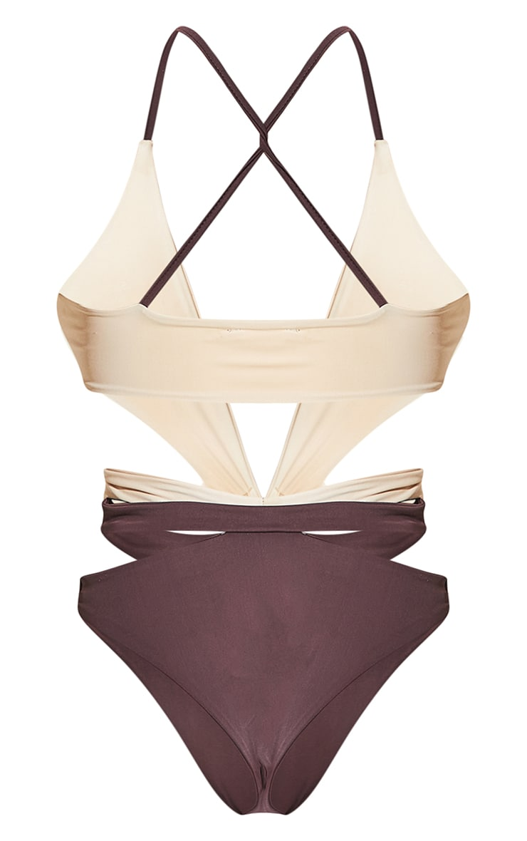 Chocolate Contrast Cut Out Swimsuit 9