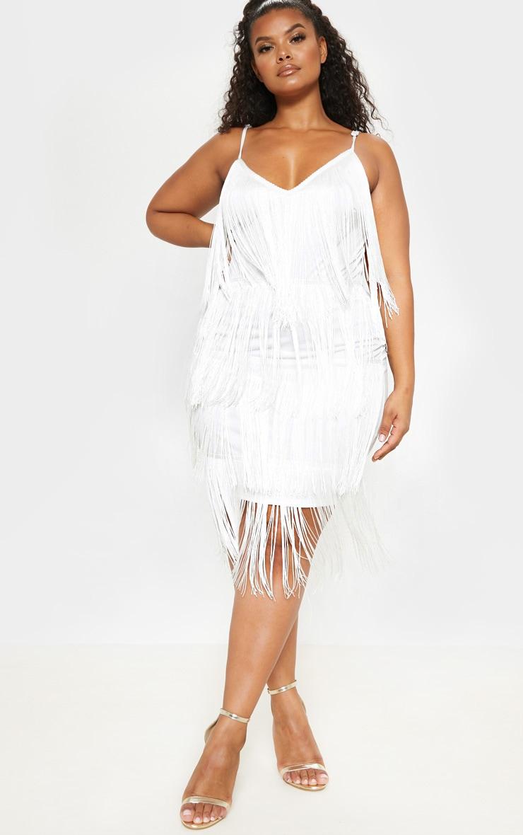 Plus White Strappy Tassel Midi Dress 1