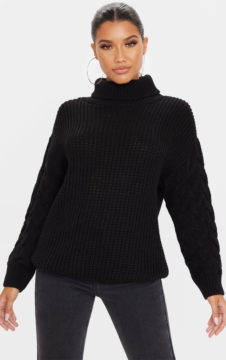 Black Chunky Knitted Cable Sleeve Sweater 1