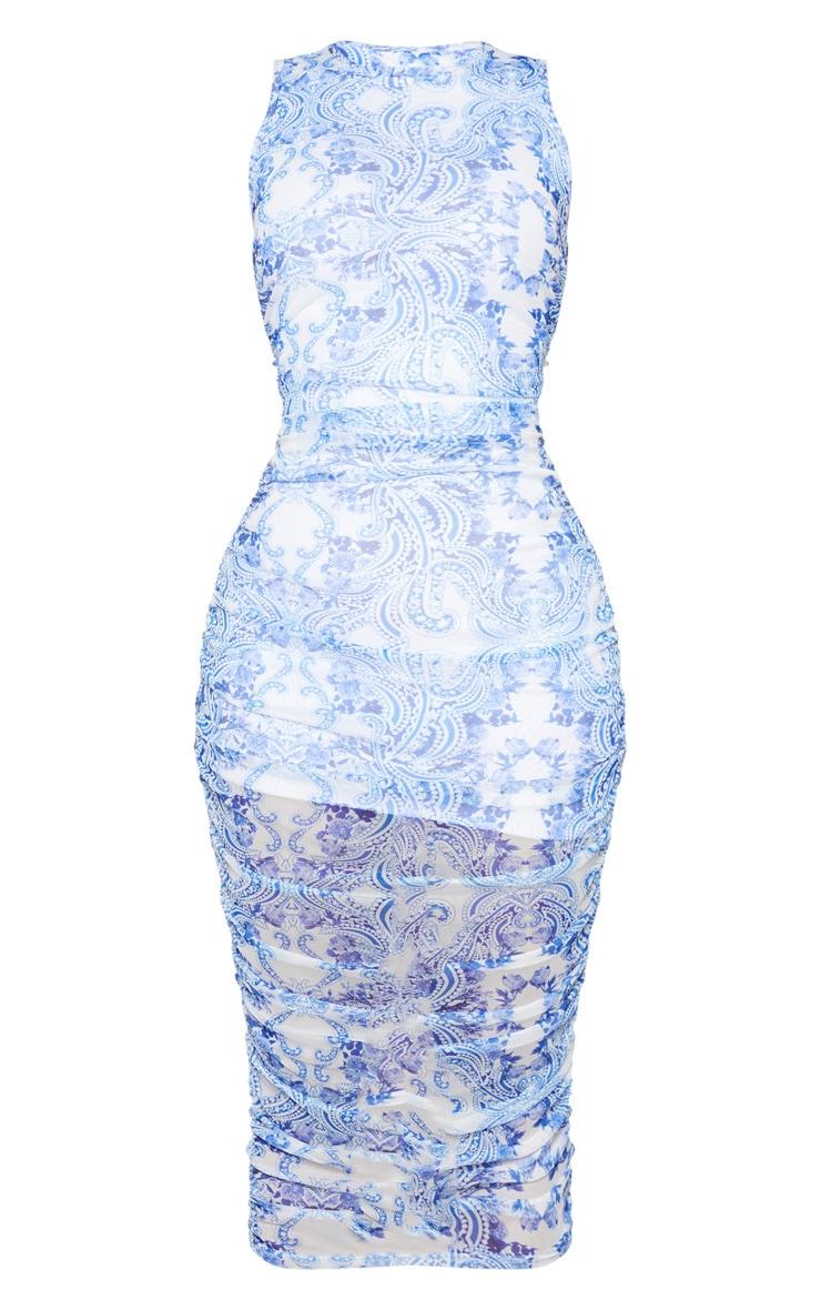 Shape Blue Porcelain Print Sleeveless Midi Dress 6