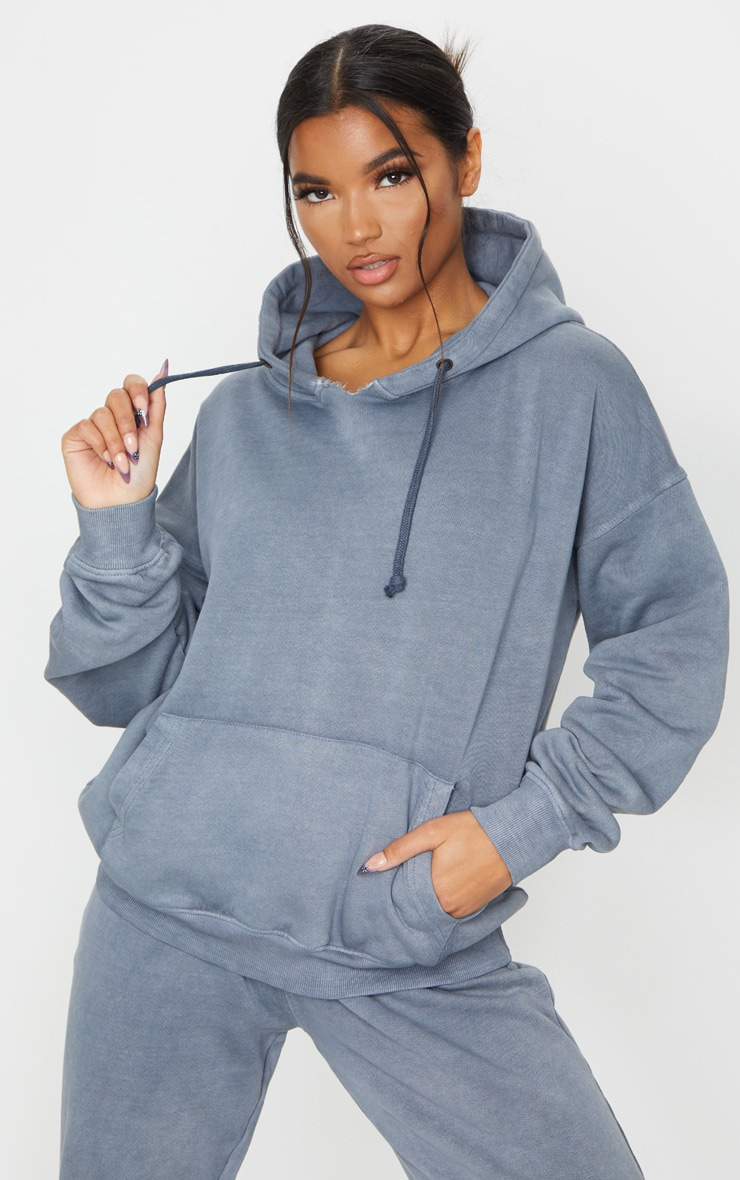 Charcoal Grey Oversized Washed Hoodie 1