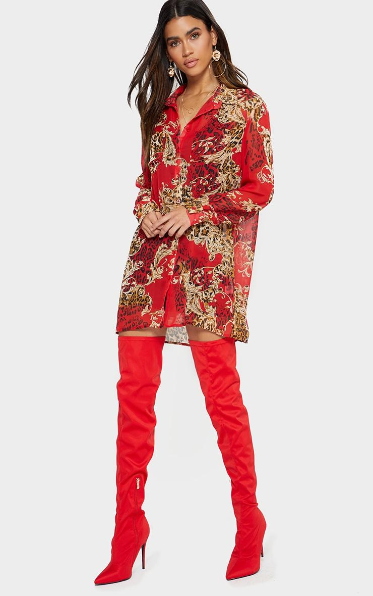Red Baroque Print Chiffon Oversized Shirt Dress 1