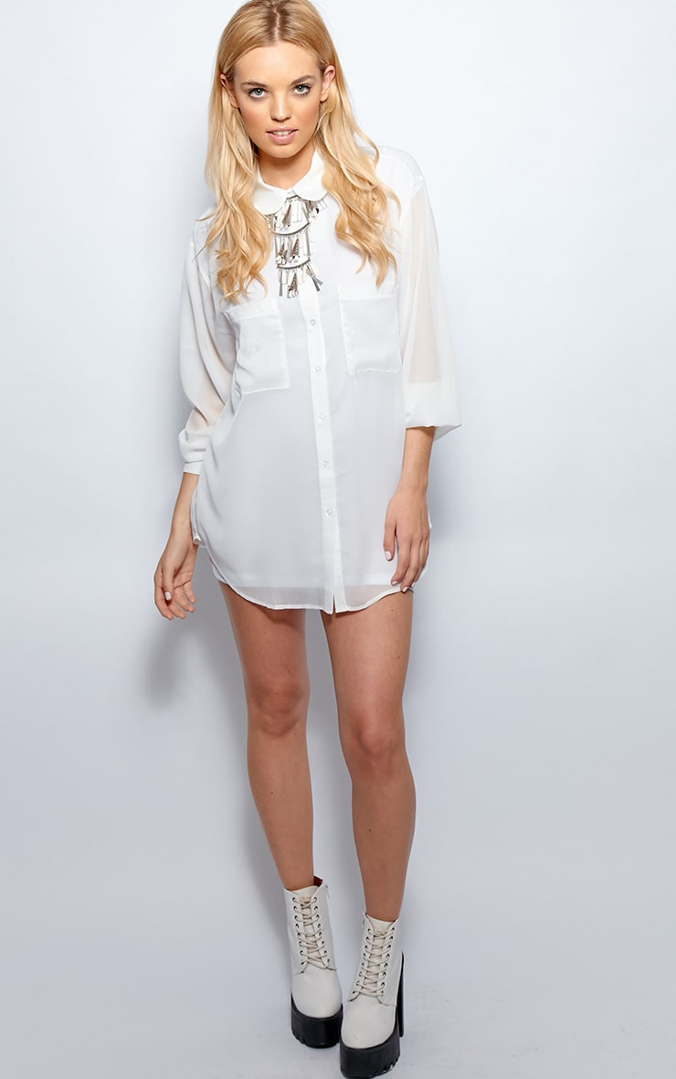 Esme White Sheer Oversized Shirt 3
