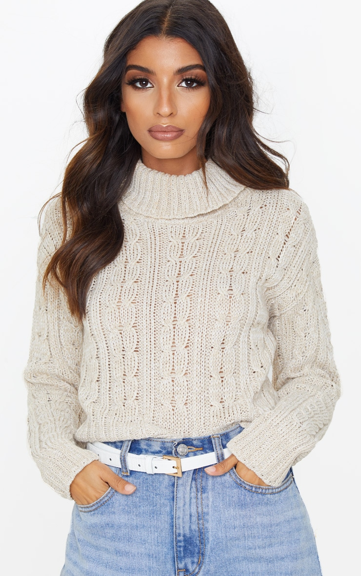 Oatmeal All Over Cable Knit Roll Neck Crop Jumper 1