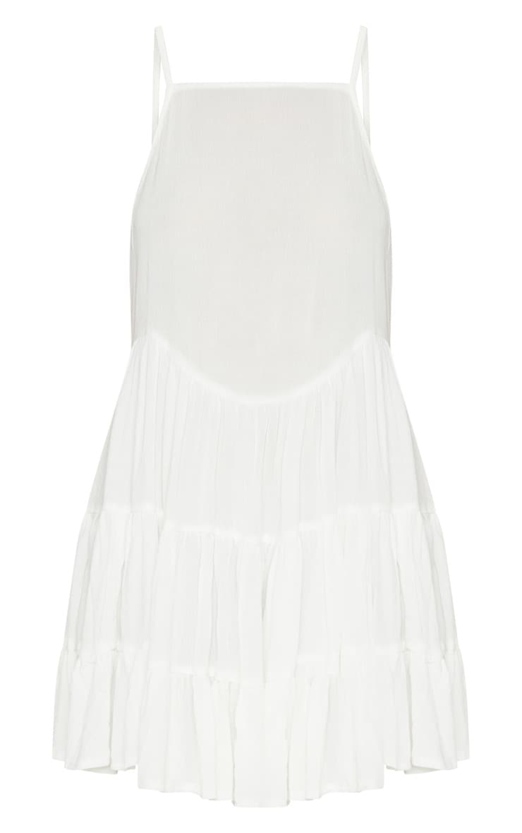 White Cheesecloth Strappy Tiered Cami Dress 3