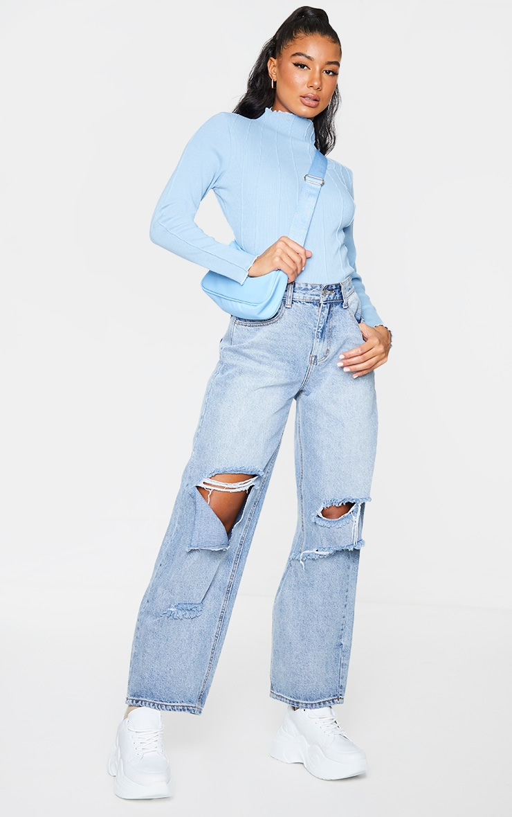 Dusty Blue Rib High Neck Exposed Seam Long Sleeve Top 3