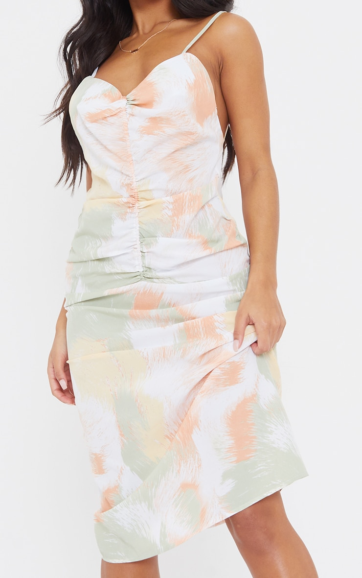Multi Printed Strappy Ruched Centre Midi Dress 4