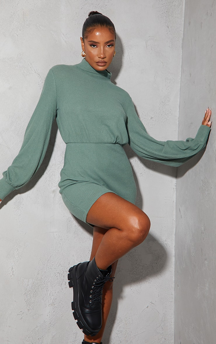 Washed Green Brushed Rib High Neck Balloon Sleeve Bodycon Dress 1