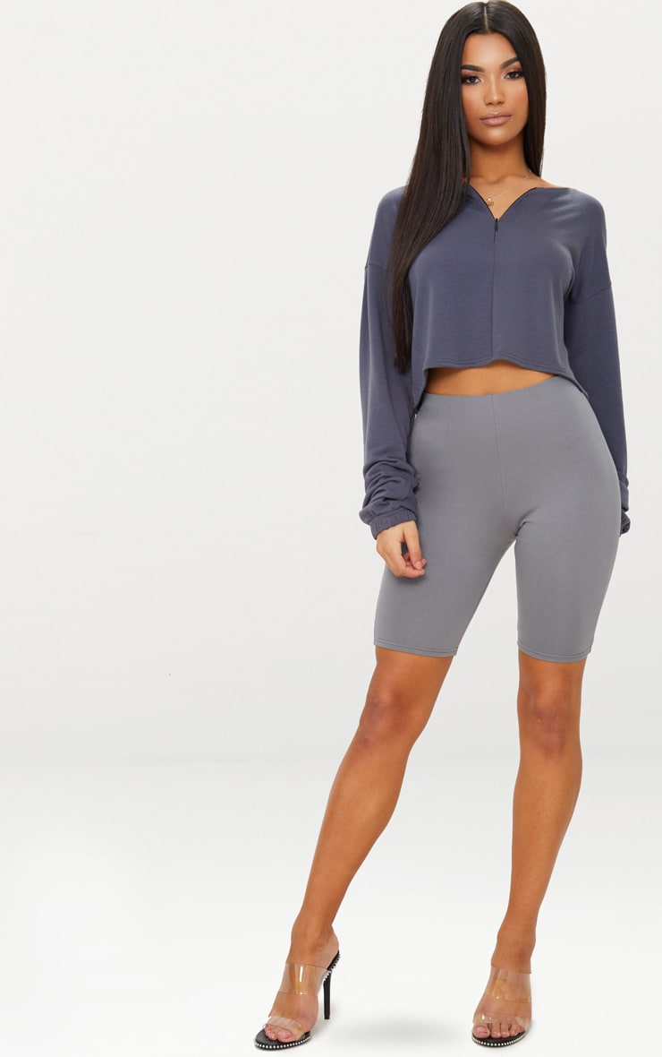Charcoal Blue Zip Front Sweater  4