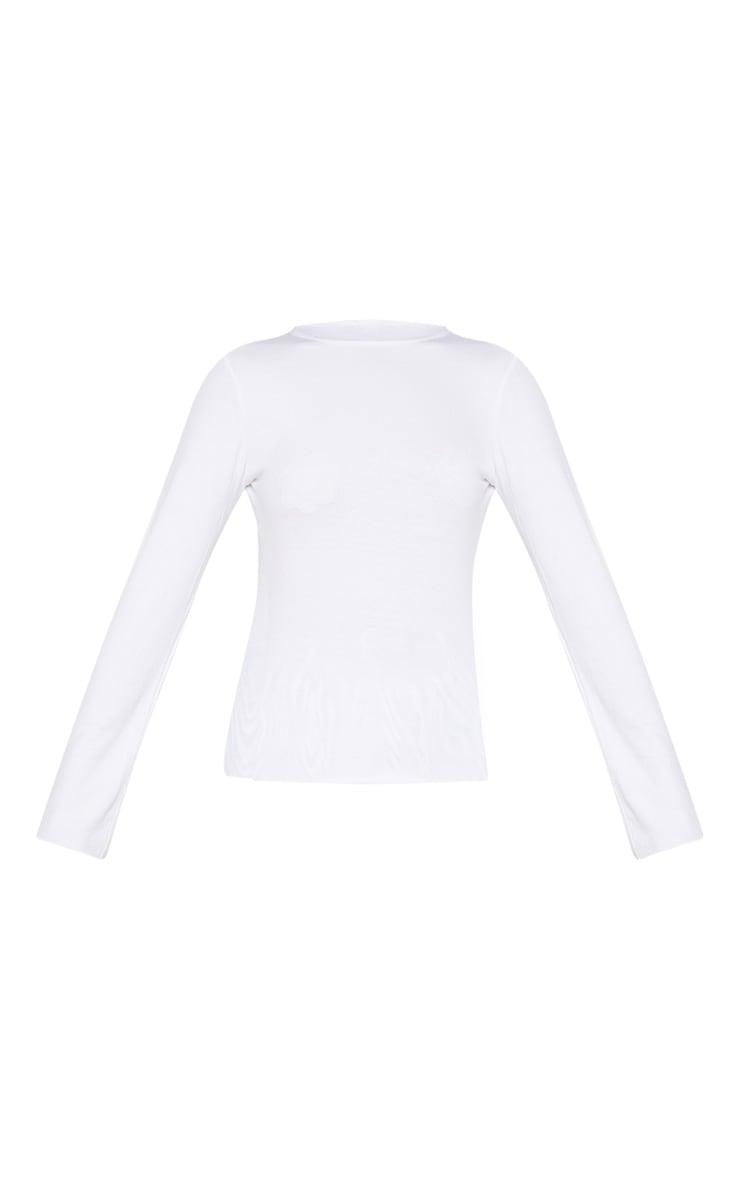 White Soft Rib Long Sleeve Crew Neck Top 3