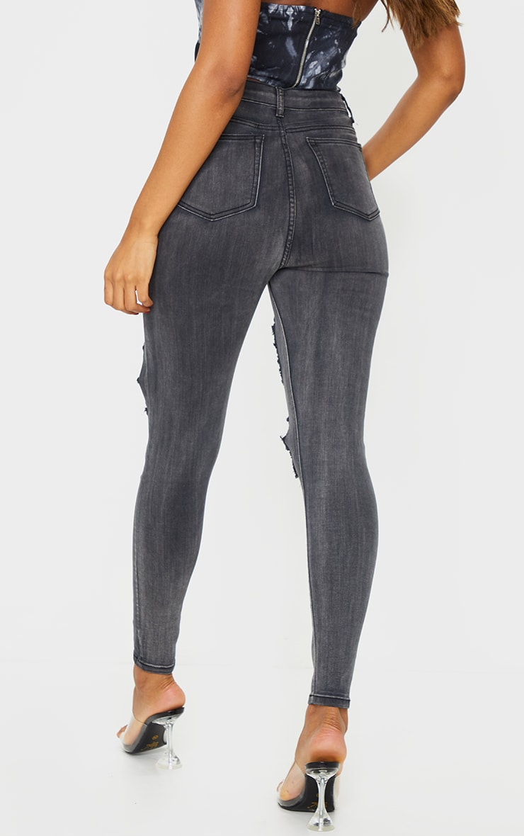 PRETTYLITTLETHING Washed Black Open Thigh Distressed 5 Pocket Skinny Jean 3