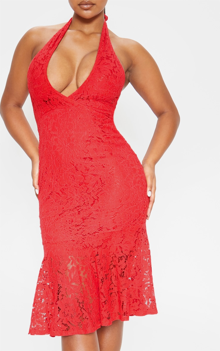 Red Lace Halter Midi Dress 5