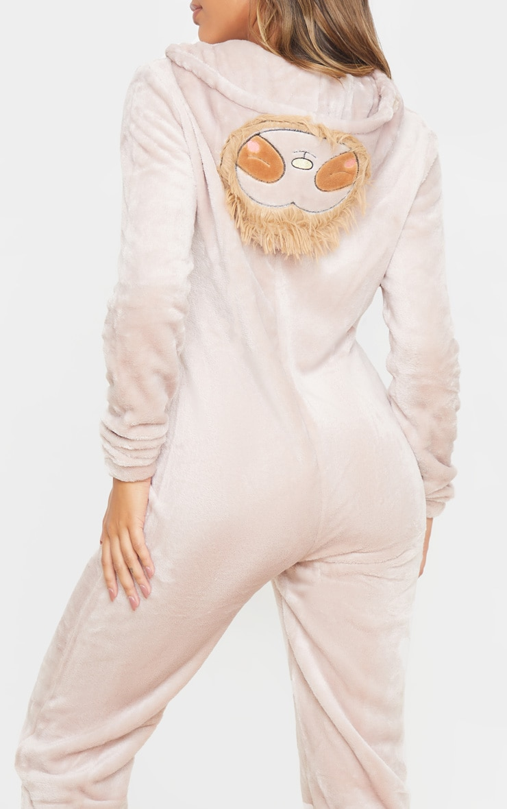 Beige Sloth Hooded Onesie 5